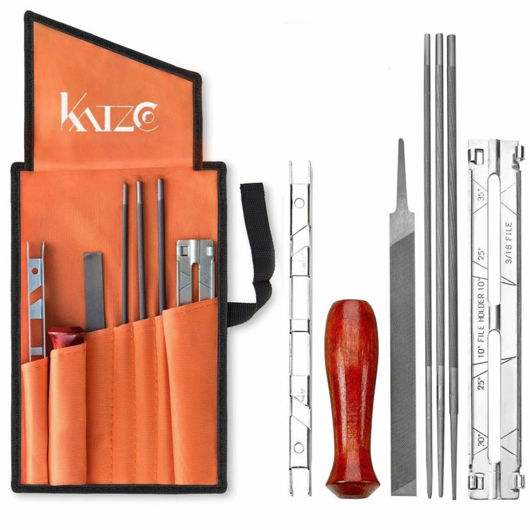 Katzco 8 Piece Chainsaw Sharpener File Kit - For Sharpening & Filing Chainsaws & Other Blades